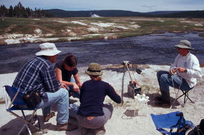 USGS scientists collecting a water sample from a spring in Yellowstone National Park