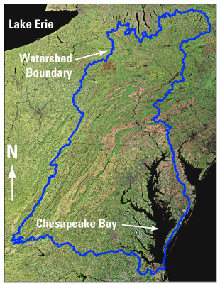 Aerial photo of Chesapeake Bay watershed-watershed outlined in blue.