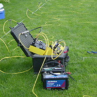 Surface geophysical equipment used to measure electrical resistivity in the subsurface