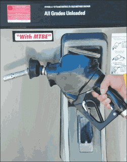 Photo of a Gas Station Pump with a Sticker Saying with MTBE