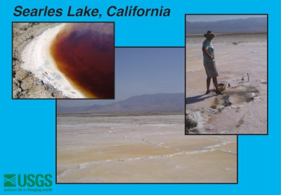 Slide with three photos of Searles Lake, California