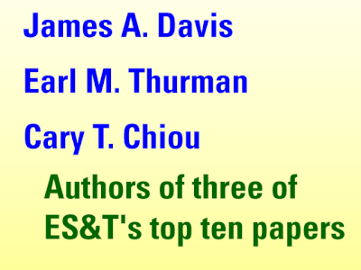 James A. Davis, Earl M. Thurman, and Cary T. Chiou - Authors of three of ES&T's top ten papers