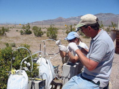 USGS scientists collecting gas samples from the unsaturated zone
