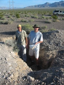 USGS scientists in a shallow trench studying the unsaturated zone.