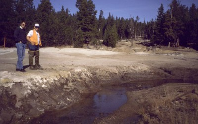 Mill tailings deposited on the flood plain of Basin Creek, Montana