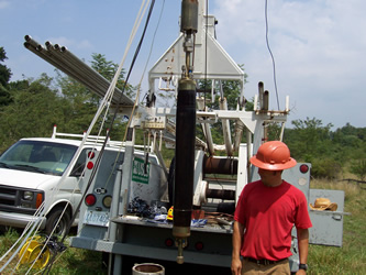 USGS scientists preparing the BAT3 to be lowered into a bedrock well