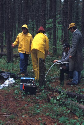 Scientists collecting groundwater samples in the woods in the rain