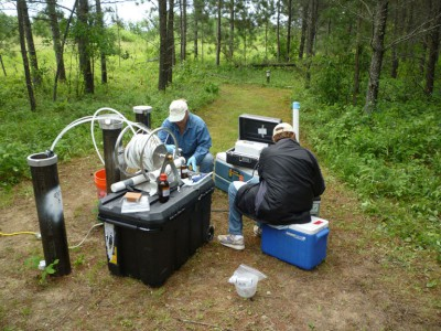 USGS scientists collecting water-qualty samples from observation wells