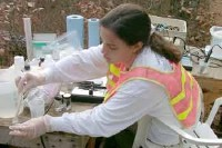USGS scientist collecting water-quality samples for the investigation of the natural restoration of the wastewater plume on Cape Cod, Massachusetts.