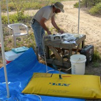 A USGS scientist prepares a tracer solution in a gas-tight bladder
