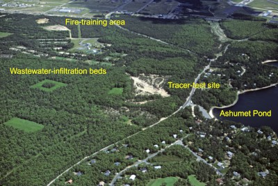 Aerial photograph of an area on Cape Cod, MA, with labels showing key features