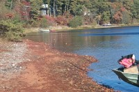 Shortly following the installation of the permeable reactive barrier, the sediment along the shoreline of Ashumet Pond, Cape Cod, MA, turned red, indicating the oxidation of the iron filings in the barrier.