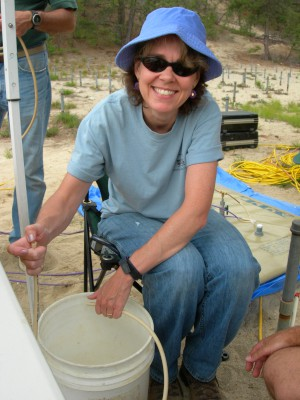 USGS scientist collecting a groundwater sample