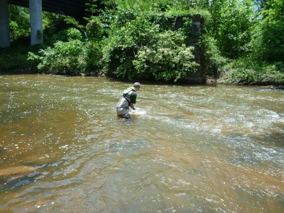 USGS scientist collecting water-quality samples from the Enoree River, SC
