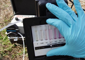 USGS scientist holding a sample vile up to a dissolved oxygen color scale