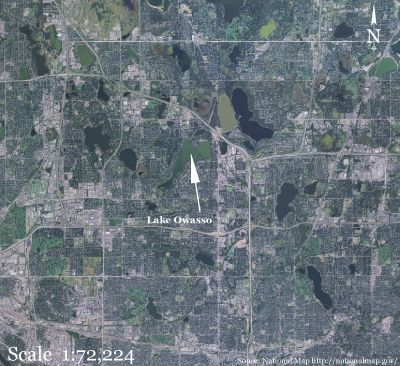 Lake Owasso, Minnesota, is surrounded by urban land use and has eutrophic (high nutrient concentrations in the water) conditions.