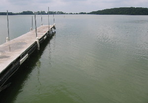 Dock and a dispersed algal bloom. Crystal Lake, IA