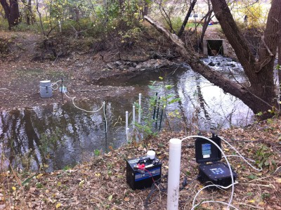 A small creek with wells used for groundwater sampling