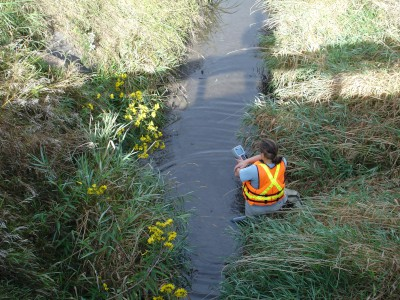 USGS scientist taking measurements of field parameters in a stream