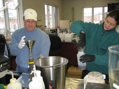 USGS scientists processing samples of combined sewer overflow water