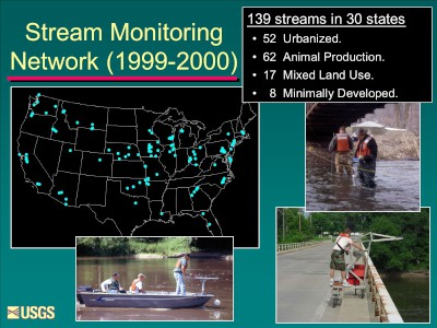 A map showing network of 139 streams sampling locations across 30 states