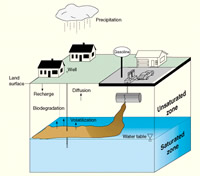 Conceptualization of the transport of petroleum hydrocarbons in ground water