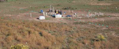 View of a well field at a groundwater contamination site
