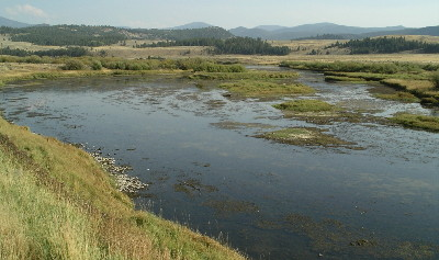 View of the Big Hole River in southwestern Montana with mountains in the background
