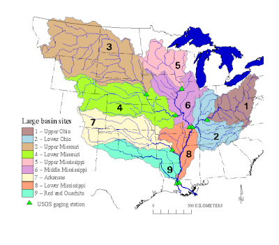 Map of the Mississippi River Basin and 9 large subbasins
