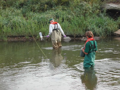 USGS scientists collecting water-quality samples, Boulder Creek, CO.