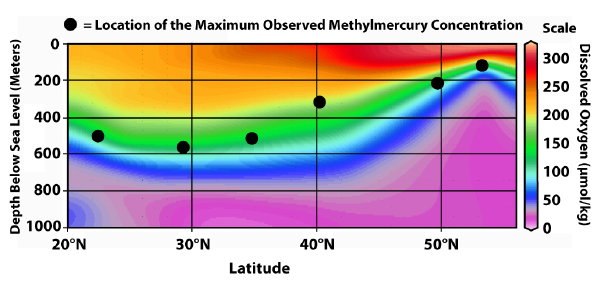 Graph of the location of the maximum methylmercury concentration at depth in the Pacific Ocean