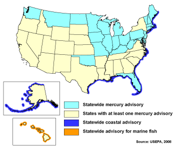 Map of states with mercury fish consumption advisories (EPA, 2008)