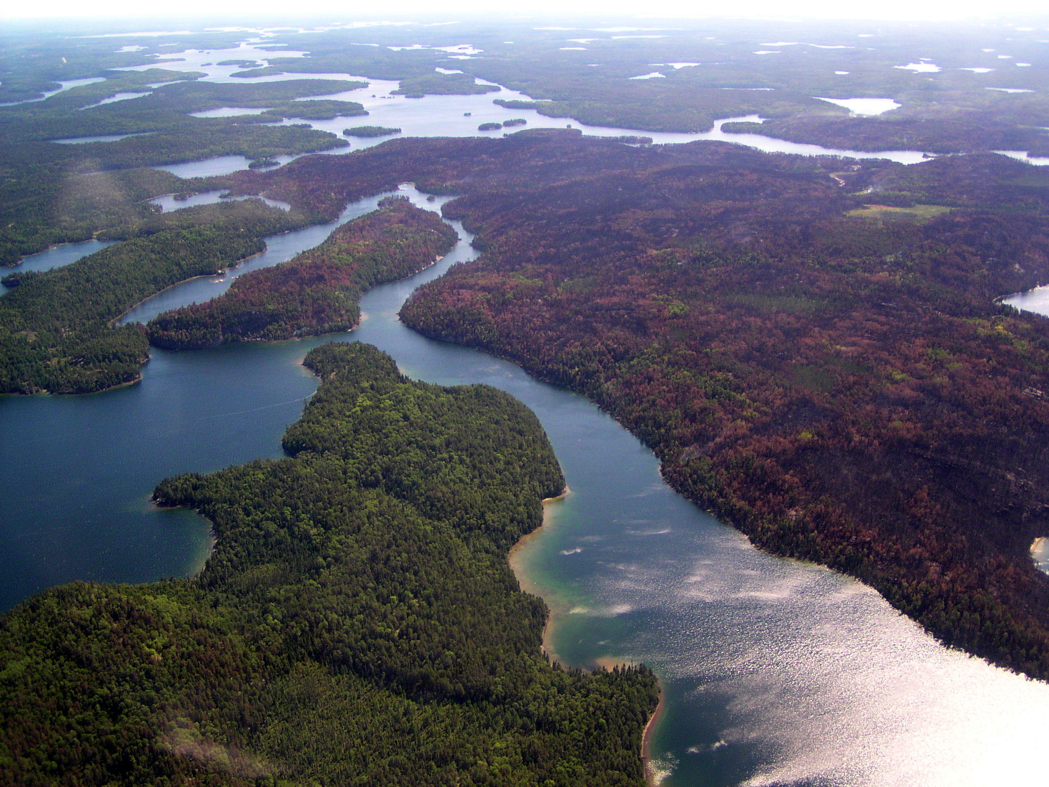 Areal photograph of lakes in Voyageurs National Park, Minnesota.