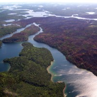 Areal photograph of lakes in Voyageurs National Park, Minnesota