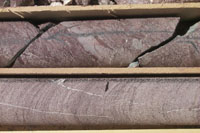 A close-up of the fault-zone core showing open joints perpendicular to bedding.