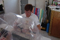 USGS scientist processing samples in a glove bag.