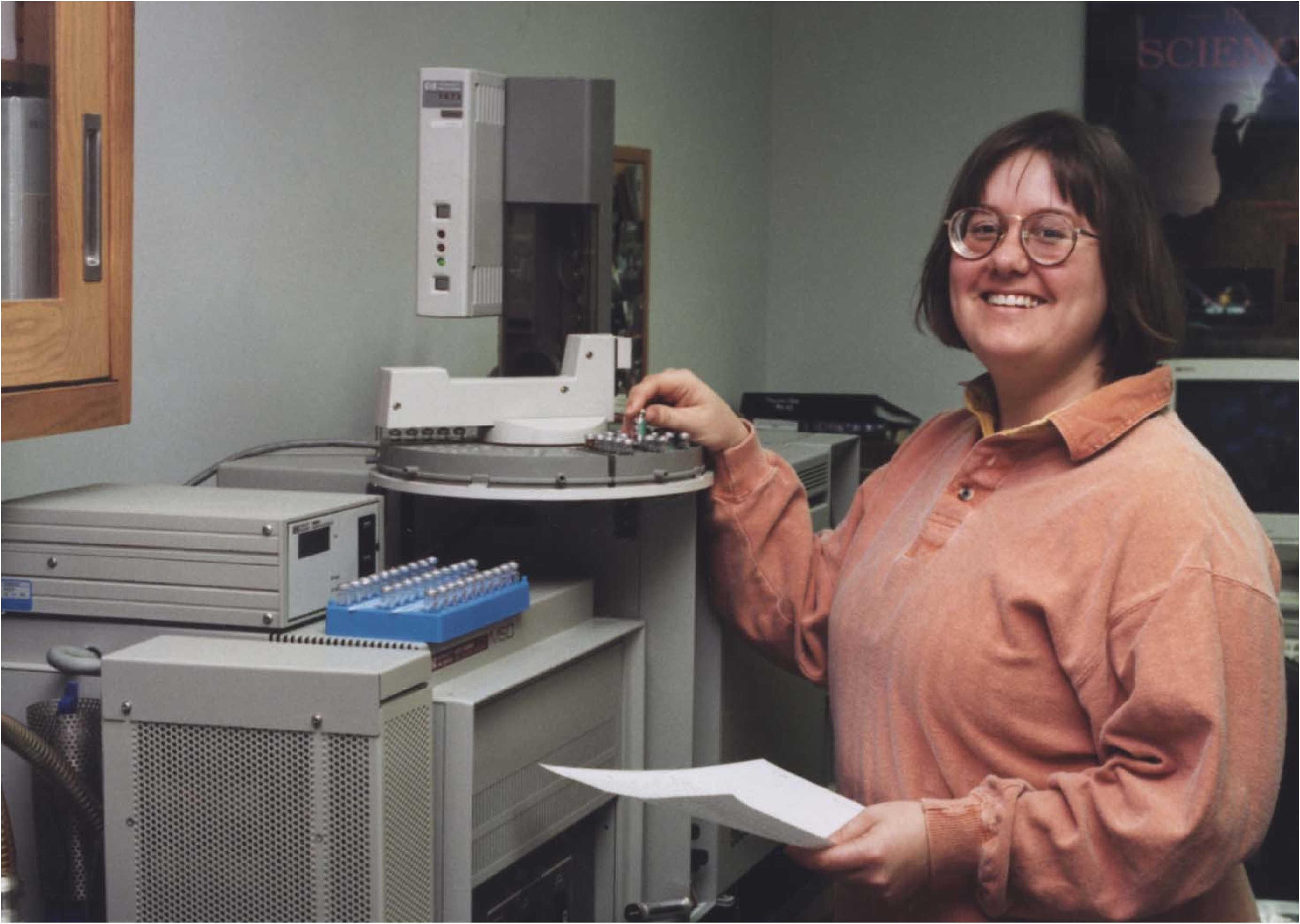 USGS scientist operating a gas chromatograph /mass spectrometer (GC/MS)