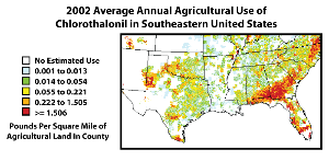 The 2002 average annual agricultural use of chlorothalonil in the southeastern United Sates (based on National 2002 Pesticide Use Maps)