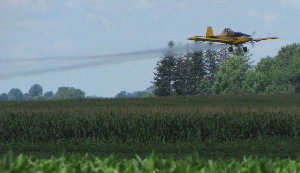 Aerial spraying of fungicides on row crops in Iowa