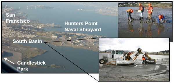 A photo collage of Hunters Point, a Superfund site in San Francisco Bay, Calif.
