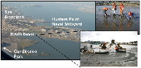 A photo collage of Hunters Point, a Superfund site in San Francisco Bay, California.