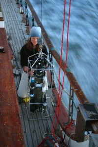 USGS scientist preparing a submersible instrument package into the San Francisco Bay, Calif.