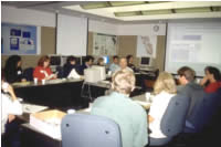 A class room full of high-school and university teachers attending a USGS conducted workshop.