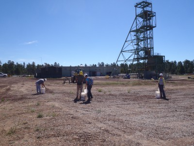 USGS scientists collecting soil samples at a mine